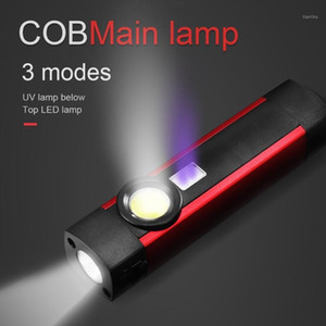 zoom 18650 3 mode COB LED Mini Pen Light UV Magnet USB Rechargeable Work Torch Lamp#41