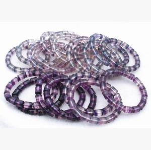 8x10mm véritable bracelet de quartz de quartz en fluorite naturel naturel de pierre de pierre de pierre de pierre de pierre précieuse femmes hommes amour nouveau bracelet cadeau