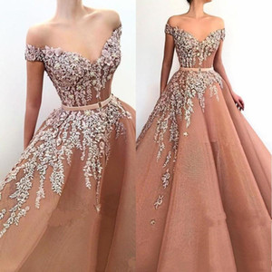 Charming Long Champagne Prom Dresses A-Line Appliques Lace Flowers Off The Shoulder Formal Dress Evening Wear Beads Pageant Gowns 2021