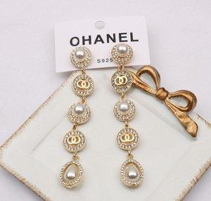 fashion brand designer letter stud earrings womens luxury pearl crystal rhinestone 18K Gold Plated geometric round long Earring eardrop Party Jewerlry Accessorie