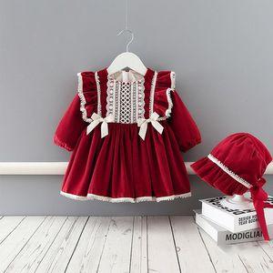 Hiver bébé fille robe velours épaissie robe robe princesse + chapeau filles enfants enfants nouvel an vêtements 210315