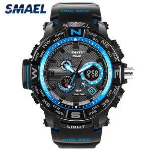 SMAEL 1531 Men Sports Watch Big Dial Dual Display Electronic Wrist watches Men's LED Digital Chronograph 50M Waterproof Clock