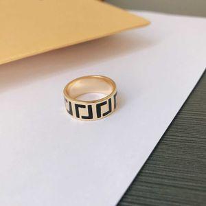 F   Fen family 2021 early spring new simple black letter ring female