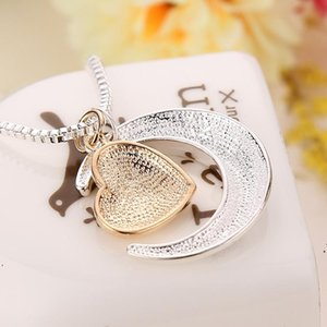 High Quality Heart Jewelry I Love You To The Moon And Back Mom Pendant Necklace Mother Day Gift Wholesale Jewelry Valentines Gift DWF5563