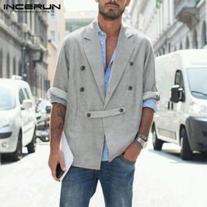 Hombres Vintage Color Sólido Blazer Incerun Sapa Traje Moda Manga Larga Outwear Hombre Doble Botón Botón Abrigos Streetwear 5xl 7