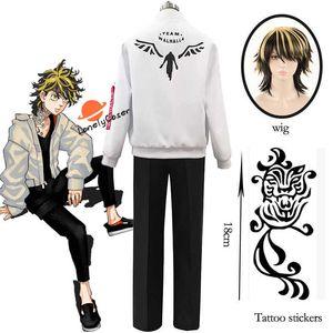 Anime Tokyo Revengers Hanemiya Kazutora Cosplay Costume Wig Zipper White Jacket Pants Uniform Baseball Coat Halloween Party Y0903