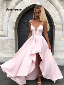 Satin Spaghetti Straps Prom Dresses V Neck Pink Evening Dress Asymmetrical robe de soiree Long Party Gowns vestidos formales Prom Gowns