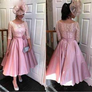 Vestido Novia Half Sleeves Lace Tea Length Evening Dresses Formal Fashion Formla Guest 2021 A-Line Prom Dresses