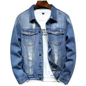 남자 재킷 남자 캐주얼 망 클래식 고전적인 푸른 데님 재킷 찢어진 구멍 패션 슬림 피트 코트 가을 외상 드롭 의류