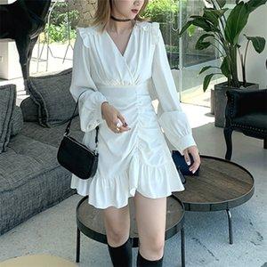 Draped Mini Elbise Kadınlar Rahat Yüksek Sokak Fransız Uzun Kollu Yüksek Bel Parti Zarif Elbise Kadın Sonbahar Giyim Korece 210309