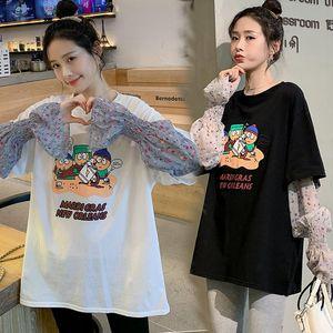 Maternity Tops & Tees Lactation Clothes Feeding Cartoon Lettering Printing Loose Chiffon T-shirt Top