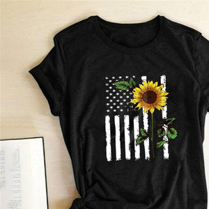 Sunflower American National Flag Printed T shirts Women Summer Graphic Tees Women Aesthetic Tops for Teens Casual Ropa Mujer