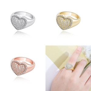 18K White Gold Bling Heart Love Cubic Zirconia Womens Rings Iced Out Diamond Wedding Engagement Band Ring Hip Hop Jewelry Gifts