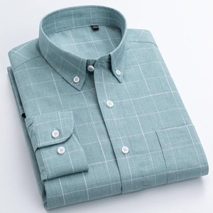 Hot Sale Men Shirts Long Sleeve 2021 Male Green Plaid Shirt Fabric Korean Style Soft Causal Shirts Bussiness Brand Mens Clothes