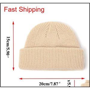 2020 Knitted Hats Skullcap Men Beanie Hat Winter Retro Brimless Baggy Melon Cap Cuff Docker Fisherman Beanie jllSaQ lottery2010
