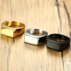 Budrovky rectangular liso de acero de titanio de 10 mm de acero inoxidable de acero inoxidable anillo de fundición retro joyería de hombres retro dropshipping