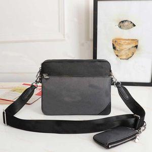 2021 New Messenger Bag Canvas Mens Crossbody Bags 3 Piece Set Fashion Leather Man Shoulder Bag With Purse Wallet Clutch