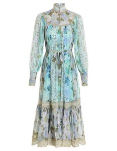 Australian fashion brand stand collar LONG SLEEVE BLUE court style heavy industry dress
