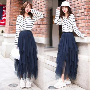 Skirts Long Tulle Midi Womens Spring Autumn Elastic High Waist Patchwork Mesh Tutu Pleated Female Skirt Streetwear