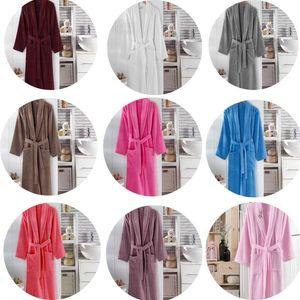 100% Pamuk Uzun Kalın Terry Unisex Bathrobe Banyo Yumuşak Relax Sabahlık Elbise Nedime Elbiseler Embent Femme Soyunma Waffle Havlu