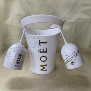 1Pcs Bucket + 2Pcs Glass Moet Champagne Flutes Glasses Plastic Wine Cooler Glasses Dishwasher White Moet Acrylic Champagne Buckets