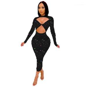 Diseñador Vestidos Sexy Hollow Out Irregular Vestidos de Cuerda Bodycon Vestidos Casual Hembras Ropa Bling Print Womens