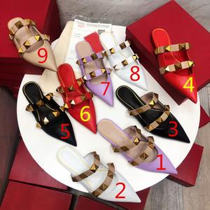 Yüksek kaliteli moda bahar ve yaz yeni Baotou düşük topuk inek derisi sivri bayan yarım terlik düz renk bayan sandalet boyutu 35-40