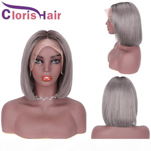 Glueless Human Hair Lace Front Wig Ombre 1B Grey Pixie Cut Short Bob Wigs For Black Women Colored Gray Peruvian Straight 13x4 Closure Wig