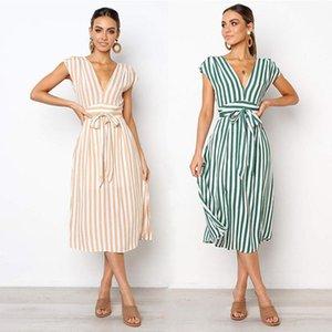 Yaz Elbise Boho Vintage Kadın Giyim Kolsuz Tunik Kadınlar Için Çizgili V Boyun Sashes Robe-Femme Sumer Elbise Beach Kadın
