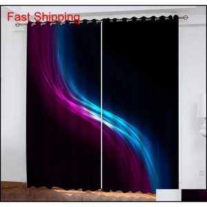 Custom Curtains Black Blue Purple Color Stripes 3d Blackout Curtains For Living Room Bedding Room Drapes Co jllhRc mywjqq
