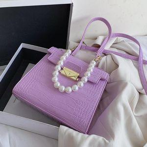 Crocodile Pattern Pearl Bag 2021 Messenger Tote New Women's High-quality Leather Designer Handbag Travel PU Fashion Shoulder Aeecl