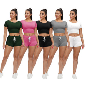 women's new fashion solid color short sleeve shorts casual style two-piece sets summer sports suit women's Slim round neck Jogging Suit