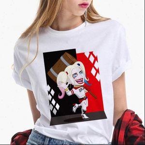 Summer female T shirt Harajuku suicide team wild Harley Quinn graffiti t shirt female street clothing printed T shirt Halloween
