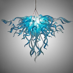GIRBAN Free Shipping Blue Colored Glass Chandelier Lighting Fine Home Art Ddecoration LED Hanging Lamp Indoor Chandeliers For Kitchen