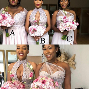 2021 New Sexy African Bridesmaid Dresses Mixed Style Sequined Crystal Beaded Split Country Beach Nigeria Bellanaija Maid Of Honors Prom Gown