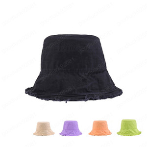 New Spring Summer Solid color women buckets hat cotton fringed fisherman cap Flat top sun hat bucket hat women's cap outdoor