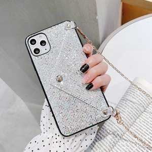 Shining Glitter Card Slot Phone Case For iPhone 12 Pro Max 11pro XS Max 7 8 Plus X Chain Lanyard Hard Back Cover Girl Coque
