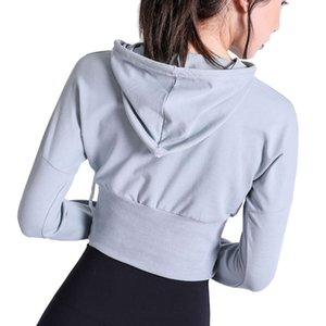 20 new sports long sleeve women's Pullover Hooded bodysuit smock breathable quick dry running training Yoga suit