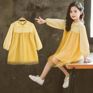 Girl's Dresses Fashion Girls Casual Long Sleeve Plaid Dress 221 Autumn Baby Girl Princess Party 4 6 8 10 12 Years Kids Clothes