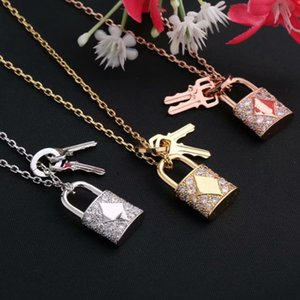 New Arrive Fashion Lady Titanium steel 18K Plated Gold Necklaces With V Letter Full Diamond Lock Key Pendants 3 Color