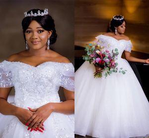 2021 африканское бальное платье свадебные платья из бисера с плечевыми кристаллами жемчуга плюс размер саудовский арабский Дубай свадебный