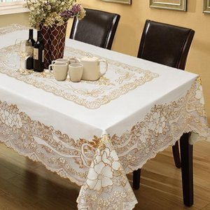 Table Cloth Bronzing European-style Plastic Tablecloth PVC Waterproof Anti-scald Oil-proof Home Dust-proof Decorative