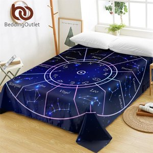 BeddingOutlet Twelve Constellations Bed Sheets Galaxy Stars Flat Sheet Horoscope Blue Bed Linen Scorpius Leo Home Textiles Queen