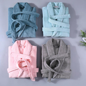 100% algodón Terry Hombres Hombres Mujeres Sólido Toalla Sleepwear Ropa Larga Bañera Robe Kimono Femme Vestido Vestido Dama Dama Amantes Regalo
