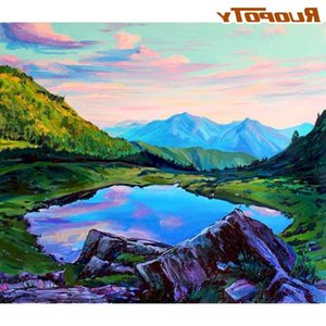 RUOPOTY Oil Painting By Numbers 40x50 Framed On Canvas Mountain Landscape Picture By Number Handmade Unique Gift Home Decor