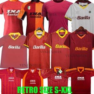17 18 rétro Roma Soccer Maillots 96 97 98 99 00 01 02 89 90 91 92 94 Rome Giannini Totti Batistuta Nakata Nela Balbo Statuto Tommasi Shirts de football Vintage Tops Classic