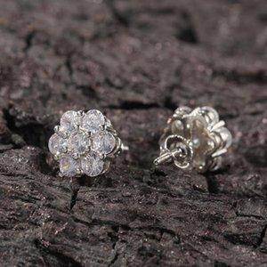 Kadınlar Için Çiçek Saplama Küpe 925 Ayar Gümüş Kübik Zirkonya Çiçek Küpe Hassas Kulaklar için Hipoalerjenik Kadın Çiviler