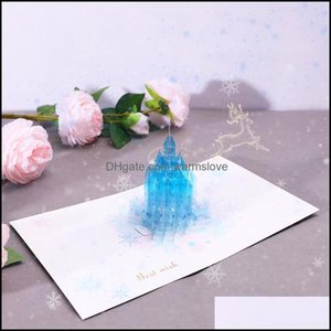 Event Festive Party Supplies Home & Garden3D Stereo Creative Crystal Castle Wishes Gift Card Birthday Aessory Holiday Handmade Greeting Card