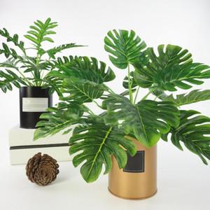 1 шт. Искусственные пластиковые вечнозеленые растения фальшивые дерева листья зелени дом декор свадьбы рождественские новогодние украшения 2021