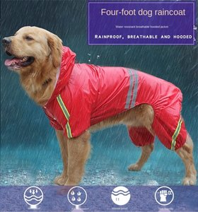 Pet Dog Double deck Raincoat Glisten Bar Hoody Waterproof Rain Lovely Jackets Coat Clothes Strip Reflective 3 Color Four legged dog raincoat